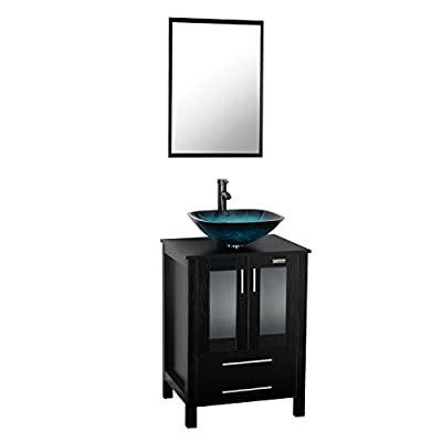 eclife 24'' Bathroom Vanity and Sink Combo Modern Stand Cabinet Bowl Turquoise Glass Vessel Sink 1.5 GPM Bathroom Brass Faucet and Brass Pop Up Drain (A10B02)