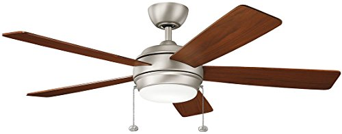KICHLER 330174NI Protruding Mount, 5 SILVER/WALNUT Blades Ceiling fan with 53 watts light, Brushed Nickel