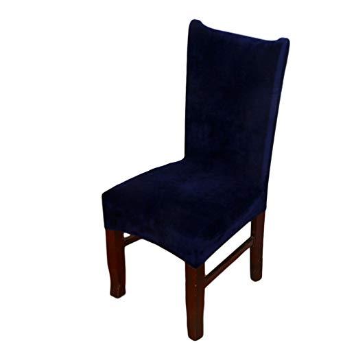 LJSLYJ Velvet Dining Chair Cover staubdicht Stretch Stuhlhussen für Hochzeit Hotel Home Decor, Navy