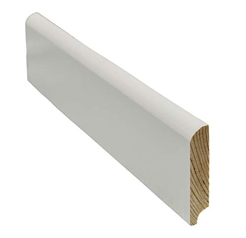 12 Meter Sockelleiste abgerundet 58mm hoch 12mm stark 2400mm lang Fußleiste weiß lackiert Kiefer Massivholz, Farbe:weiß