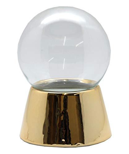 Snowglobe for you 40047 100mm-DIY-Schneekugel Sockel Gold glänzend mit Glaskugel für den Einbau Spieluhr