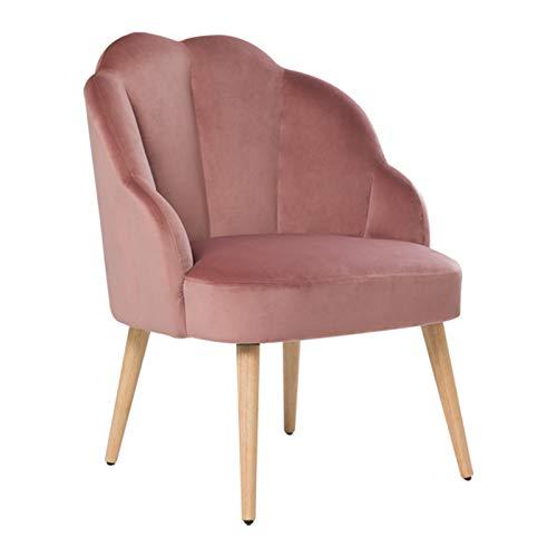 HIC High in the clouds Samt Stuhl mit Holzbeinen Polsterstuhl mit einfacher Montage für Wohnzimmer und Schlafzimmer Schminktisch Stuhl Rosa bis 150 Kg