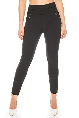 Kendindza Damen-Hose Leggings High-Waist Blickdicht | elastischer Dehnbund | Stretch-Hose mit Hochbund | Stoff-Hose elegant & edel (Schwarz, M)