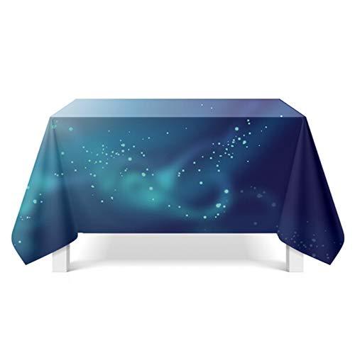 Daesar Polyester Tischtücher Party Modern Polarlicht 140x140 Blau Tischdecke Abwaschbar Party