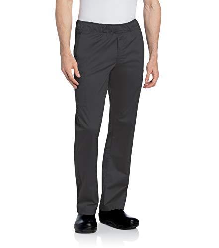 Landau Men's Comfortable Elastic Waist Stretch Cargo Scrub Pant Uniform, Black, Large
