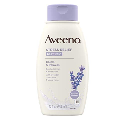 Aveeno Stress Relief Body Wash with Soothing Oat, Lavender, Chamomile & Ylang-Ylang Essential Oils, Dye- & Soap-Free Calming Body Wash for Shower Gentle on Sensitive Skin, 12 fl. oz (Pack of 3)