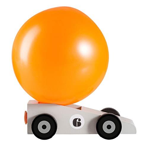 DONKEY Products Silverstar, Luftballonauto, Auto mit Luftballon, Spielzeug, Holz/Gummi/Metall, Grau/Orange, ca. 14 cm, 900213