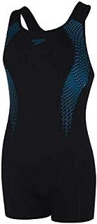 Speedo Women's Placement Bust Support Racerback Leg Suit Swimsuit/Swimming Costume (Black/Nordic Teal, UK 18)