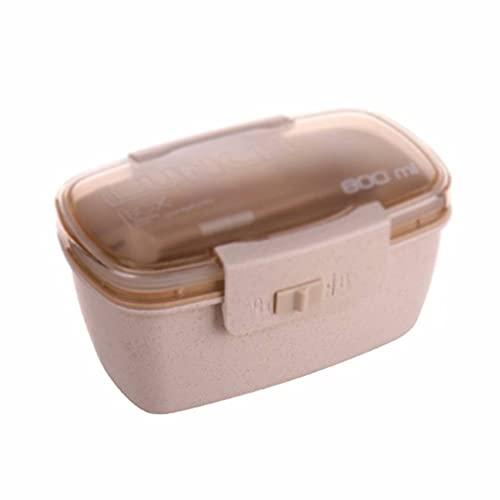 YLJJ Fiambrera Apta para microondas, con Cubiertos Bento Fiambrera apilable Caja Bento de Paja de Trigo de plástico para niños Adultos, Beige (1 Capa)