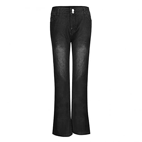 BaZhaHei Damen Mode Hohe Taille Schmale Schlaghosen Stretch Denim Flare Jeans Ausspülen Wash Out High Wasit Sporthose Jeans Jeanshose Schlaghose mit Knöpfen