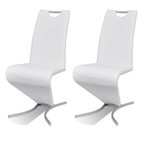 Anself 2er Set Esszimmerstuhl Küchenstuhl Schwingstuhl Stuhlgruppe Kunstleder mit H-förmiger Standfuß 3 Farbe Optional