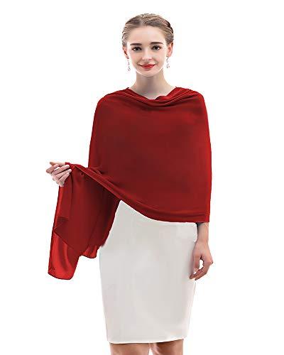 Chiffon Shawl Womens Wrap for Evening Dress Wedding Scarf Fashion Pashmina Wine Red