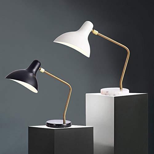 WLP-WF Lámpara de Escritorio Nórdica, Protección Ocular para Aprender a Leer, Lámpara de Mesita de Noche de Dormitorio de Mármol Creativo Europeo Simple,Blanco