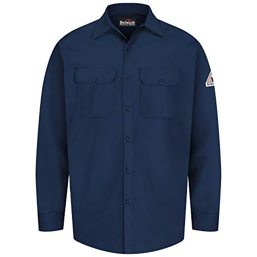 Bulwark Men's Flame Resistant 7 oz Cotton Work Shirt with Sleeve Vent, Navy, Large
