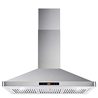 Cosmo COS-63190S Wall Mount Range Hood 760 CFM Ductless Convertible Duct Soft Touch Controls, LED Lights, 3 Speed Fan, Permanent Filters, 36 inch, Stainless Steel