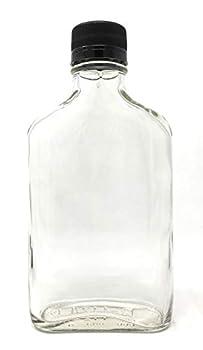 200 ml  6.6 oz  Glass Flask Liquor Bottle with Black Caps  12 Pack