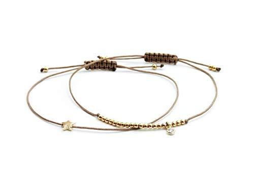 SCHOSCHON Damen Armband-Set Stern/Zirkonia Silberperlen Taupe-Gold 925 Silber vergoldet // Schmuck Geschenk Freundschaftsarmbänder