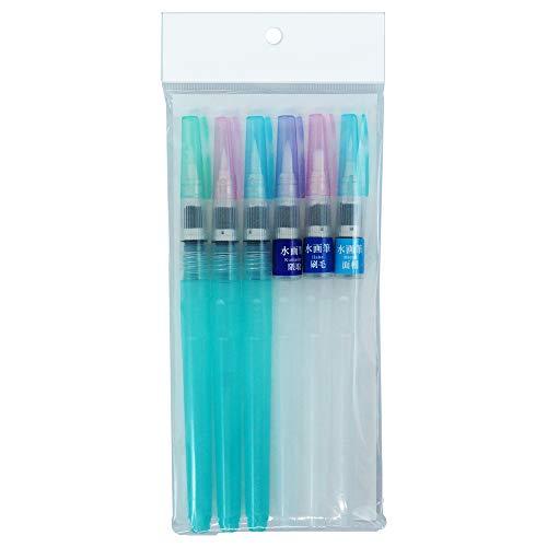 Kuretake WATER BRUSH pens 6 set, for watercolor, fine art, illustration, lettering, drawing, beginner (6 sizes set)