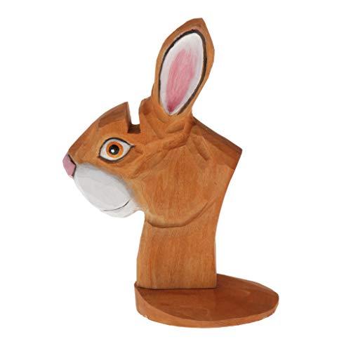 Shiwaki Expositor de Exhibición de Madera con Forma de Animal en 3D / una Novedοsa Decoración para Sala de Estar, Dormitorio u Oficina - Marrón, Conejo