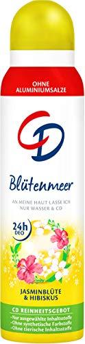CD Deo Spray Blütenmeer – Zuverlässiges Deospray ohne Aluminium für 24 Std Schutz - natürliches Frischegefühl mit Jasmin und Hibiskus – 3er Vorratspack (3 x 150 ml)