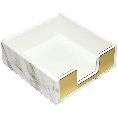 Soporte para notas adhesivas Tarjeta de notas Almohadilla de papel Accesorios de escritorio de oficina Organizador Textura blanca de mármol con decoración dorada