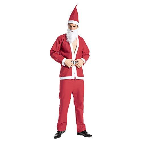 EraSpooky Abito Costume Vestito da Babbo Natale Uomo Rosso Economico con Cappello Adulto