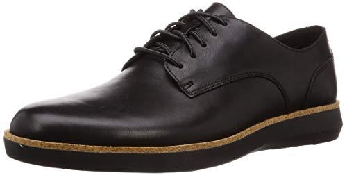 Clarks Herren Fairford Run Sneaker, Schwarz (Black Leather Black Leather), 43 EU