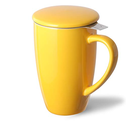 SWEEJAR Porcelain Tea Mug with Infuser and Lid,Teaware with Filter, Loose Leaf Tea Cup Steeper Maker, 16 OZ for Tea/Coffee/Milk/Women/Office/Home/Gift (Yellow)