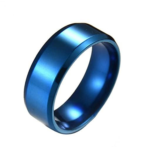 Sanfiyya Anillos de Acero para el Anillo de Acero Anillo de Boda de los Hombres 8MM Espejo Anillo de Acero Titanium frío Tamaño Simple de Correa 9 (Azul)