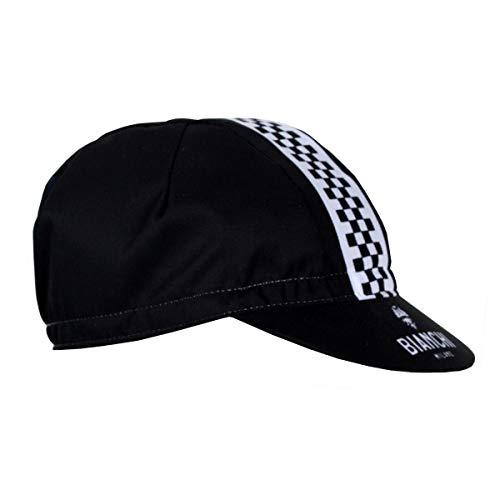 BIANCHI MILANO - Cappellino Neon Colore 4010 Nero con Fascia a Scacchi e Logo Aquila Bianchi