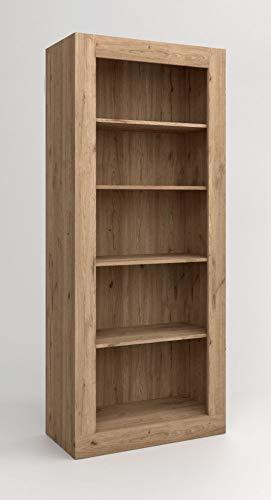 Miroytengo Estantería librería Argos 2 Abierta Color Naturale 5 estantes salón Comedor Moderna 191x80x40 cm