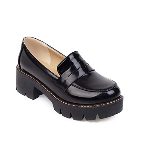 Women's Classic Platform Chunky Heel Penny Loafers Slip On Round Toe Patent Leather Oxfords Dress Shoes Black