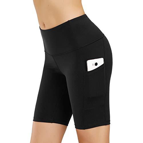 HMIYA Damen Fitness Shorts Sport Leggings Yoga Sporthose Kurze Yogahose Workout Tights Hohe Taille mit Taschen(1/2 Shorts-Schwarz,M)