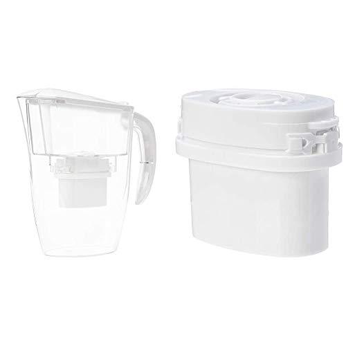 Amazon Basics - Caraffa filtrante per Acqua, 2,4 L + Cartucce filtranti, Confezione da 3
