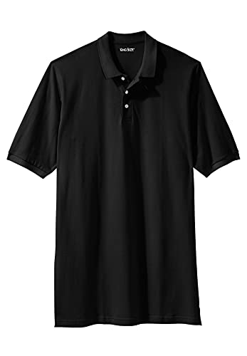 KingSize Men's Big & Tall Longer-Length Piqué Polo Shirt - Tall - 4XL, Black