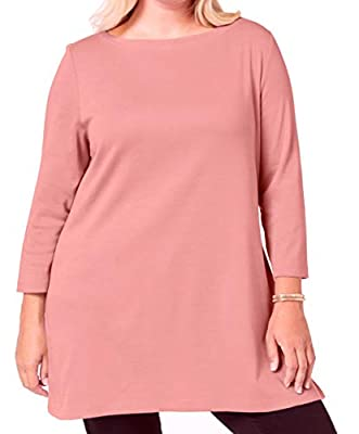 Karen Scott Womens Top Rose Plus Tunic Boatneck Cotton Pink 0X by