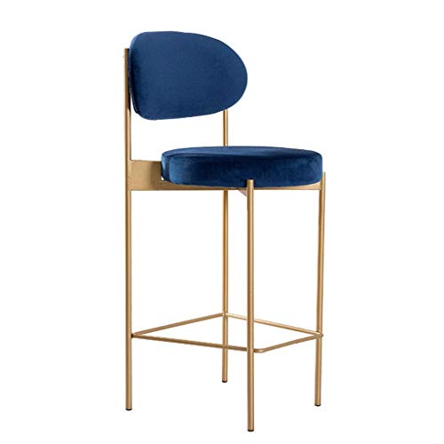WRISCG Bar Height Stool Home Backrest Lounge Chair Restaurant Cafe Stools Flannel Cushion Kitchen Dining Office Front Desk Barstools Golden Wrought Iron Bar Chairs (Color : A)