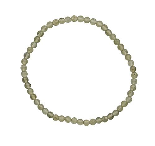 Taddart Minerals Pulsera de piedra preciosa natural peridoto de 4 mm montada en hilo elástico de nailon hecho a mano.