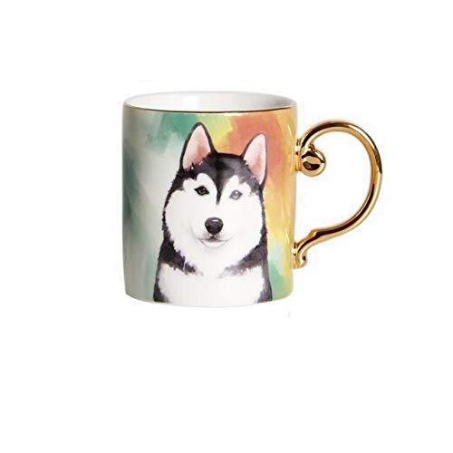 Weinglas Kaffeetasse Becherceramic Dog Coffee Mug With Gold Handle Porcelain Corgi Husky Tea Milk Water Cup For Pet Lover Table Dec