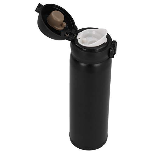 500 ml Wasserflasche Anti-Mis-Öffnungsschloss Vakuumbecher Edelstahl Heimgebrauch für Schularbeiten(black)
