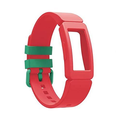 YONGLI Banda De Reloj De Pulsera De Silicona para FIBIT Inspire HR/Ace 2 SmartWatch Reemplazo De La Correa De La Muñeca para Inspire Pulsera Pequeña Grande (Color : Red)