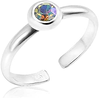 Silverline Jewelry - 925 Sterling Silver Birth Month Cz Stone Adjustable Stackable Open Toe Rings