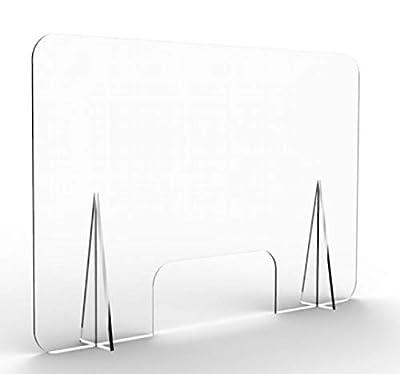 Mampara de protección transparente Fabricada en metacrilato de 3mm Medida agujero central: 35 cm. x 15 cm Protección para al personal de cara al público Fácil instalación y limpieza