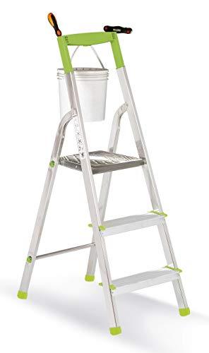 Casabriko 11033 - Escalera doméstica de Aluminio con 3 peldaños, Verde