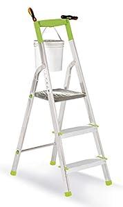 Casabriko 11033 - Escalera doméstica de Aluminio de 3 peldaños, Verde