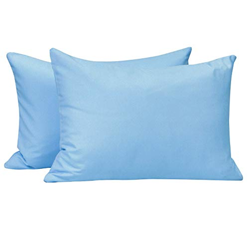 NTBAY Microfiber Zippered Toddler Pillowcases, 2 Pack Travel Pillow Covers, 13 x 18 Inches, Sky Blue