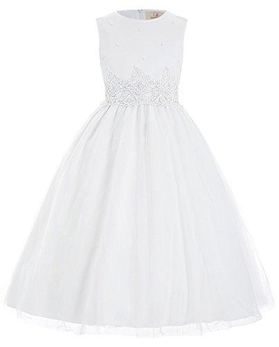 Weiss A-Linie Aermellos Hochzeit Festzug Maedchen Kleid 8-9 Jahre