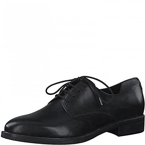 Tamaris Damen Schnürhalbschuhe, Frauen Businessschuhe,TOUCHit-Fußbett,schnürschuhe,schnürer,Halbschuhe,klassisch,Black Leather,39 EU / 5.5 UK