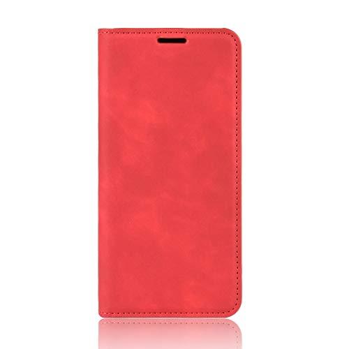 NEINEI Handyhülle für Asus Zenfone 8 Hülle,Premium Lederhülle Klapphülle mit [Magnetisch] [Kartenschlitz],PU/TPU Einfaches Design Schutzhülle Flip Folio Cover Hülle,Rot