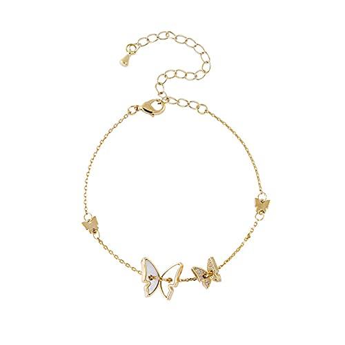GAOZHEN Hoops de diseño de Moda, Hermosas Pulseras de Mariposa de Alta Clase, Estilo Fresco para Ornamentos de Mano Minimalistas,Oro